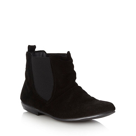 Red Herring - Black suede ruched chelsea ankle boots