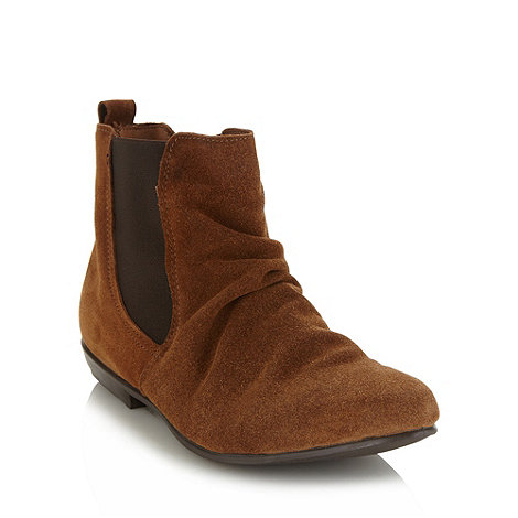 Red Herring - Tan suede ruched chelsea ankle boots
