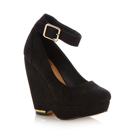 Red Herring - Black ankle strap high wedge court shoes