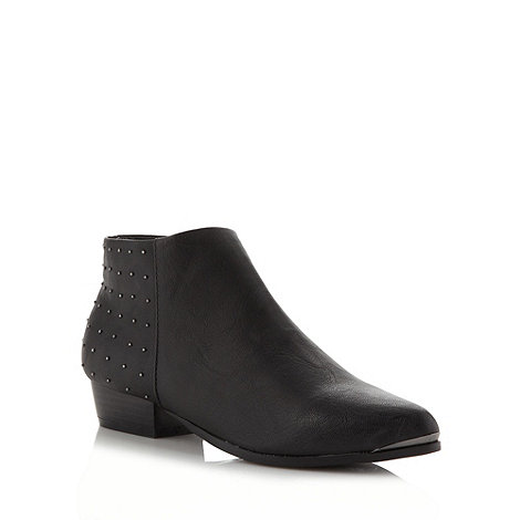 Red Herring - Black pointed studded flat ankle boots