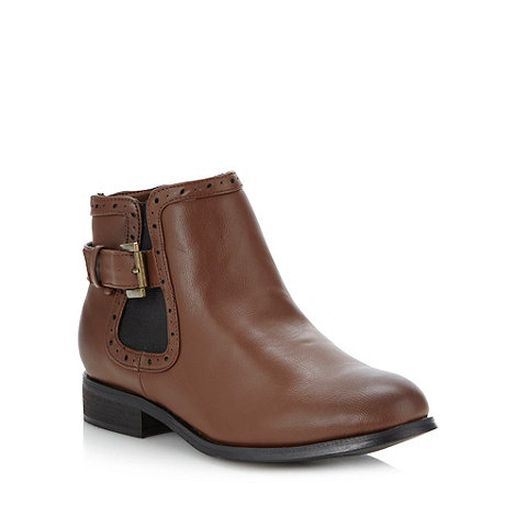 Red Herring - Brown buckle low chelsea boots
