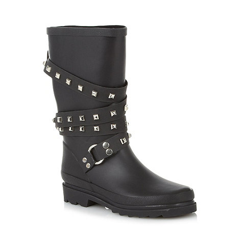 Red Herring - Black studded strap wellies