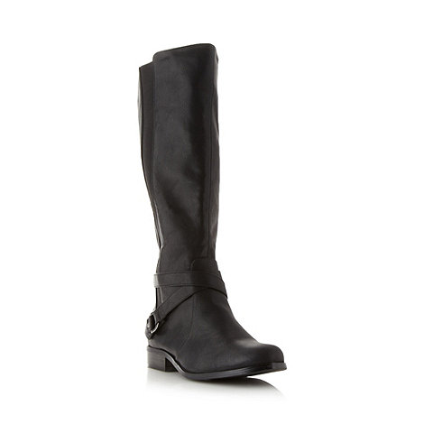 Good for the Sole - Black stretch panelled knee high EEE wide fit boots