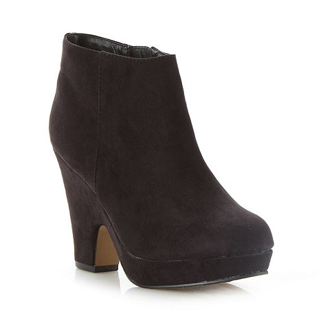 Good for the Sole - Black wide fit high wedge ankle boots