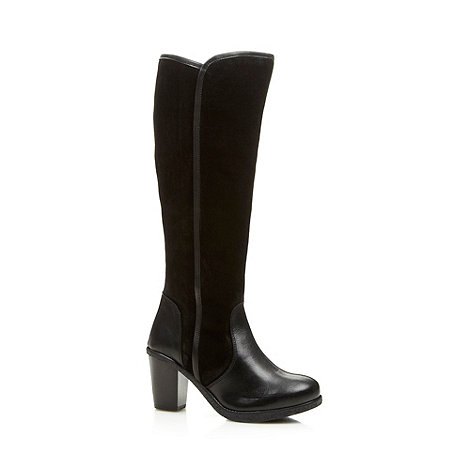 collection for the sole black suede zip knee high