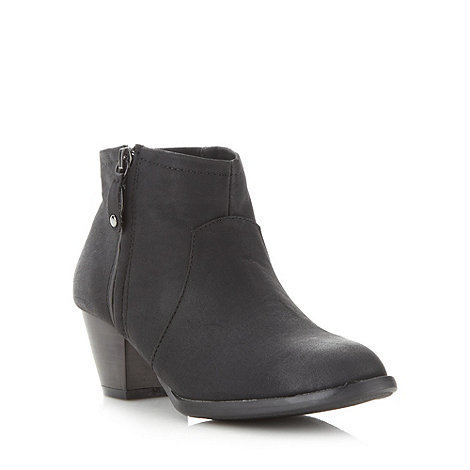 Red Herring - Black zipped mid heel ankle boots