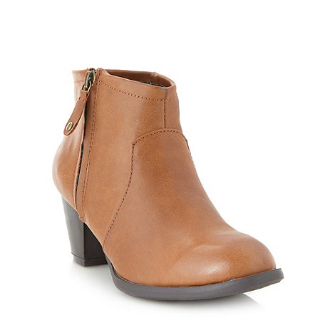 Red Herring - Tan mid heel shoe boots