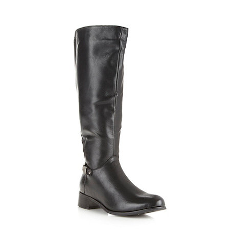 Good for the Sole - Black wide fit buckle panel knee boots