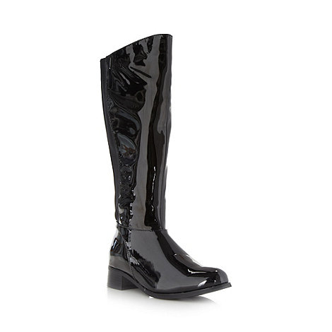 Good for the Sole - Black patent wide fit low heel knee length boots