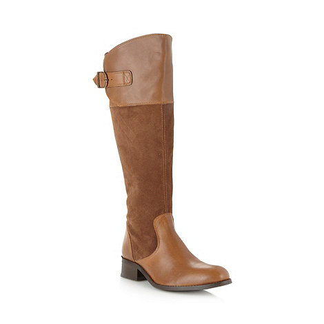 The Collection - Tan mixed leather low knee length boots