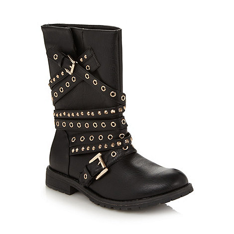 Red Herring - Black studded multi strap biker boots