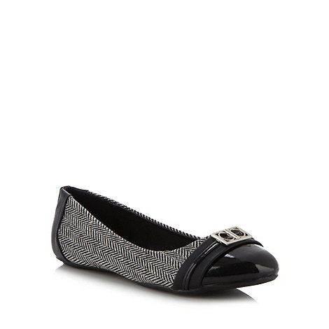 The Collection - Black buckled herringbone pumps