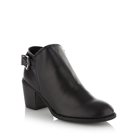 Red Herring - Black buckled mid heel ankle boots