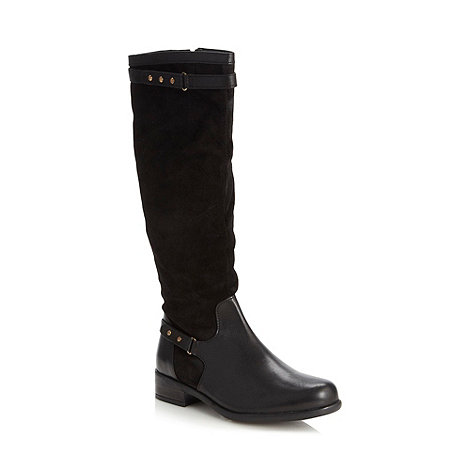 Good for the Sole - Black wide fit mixed leather low knee length boots