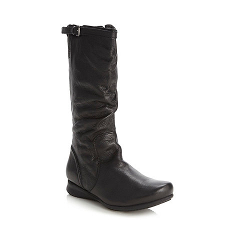 Good for the Sole - Black wide fit leather slouch calf length boots