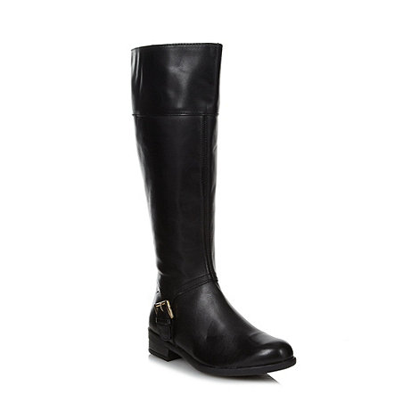 the collection black leather buckled knee high boots