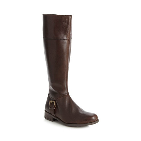 The Collection - Chocolate leather buckle low knee length boots