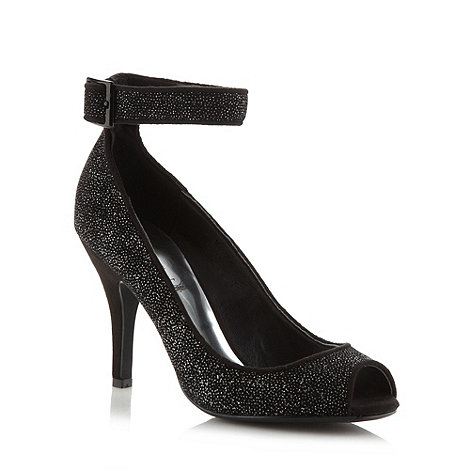 Debut - Black metallic textured high court shoes