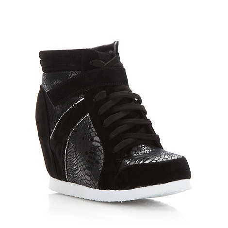 Red Herring - Black snake panel wedge trainers