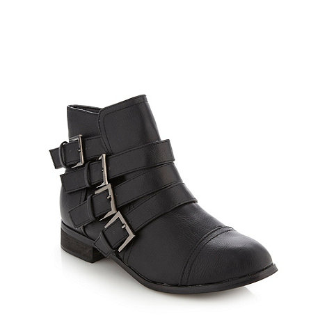 Red Herring - Black buckle strap ankle boots