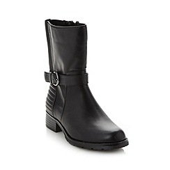 Red Herring - Black buckle trim calf length boots