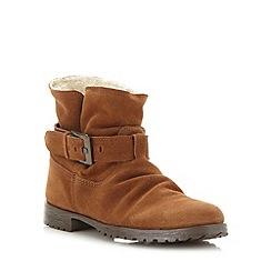 Mantaray - Dark tan suede fleece lined ankle boots