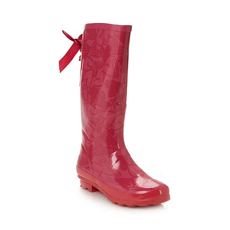 Red Herring - Pink heart wellies
