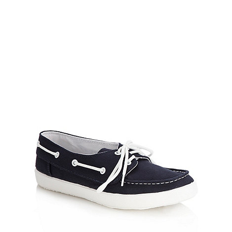 Red Herring - Navy canvas boat shoes