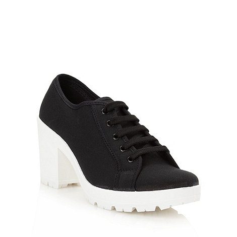 Red Herring - Black high block heeled trainers