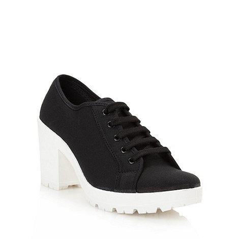 Red Herring - Black high block heeled trainers