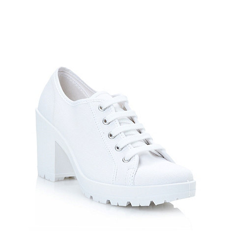 Red Herring - White high block heeled trainers