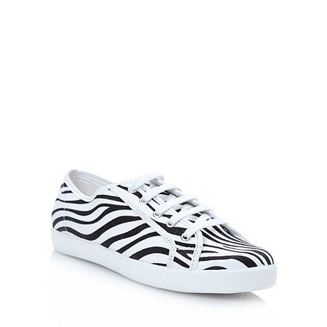 Red Herring - White zebra printed trainers