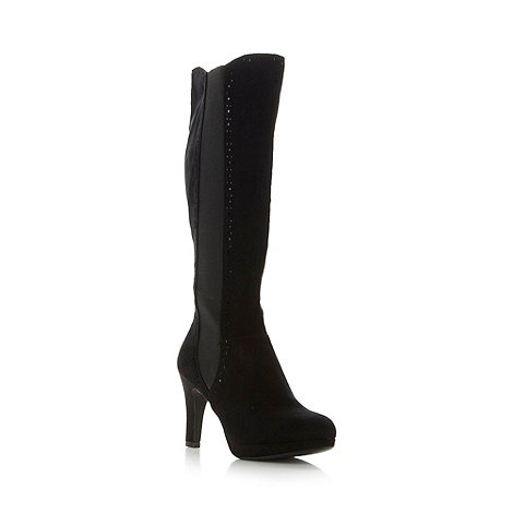 Good for the Sole - Black wide fit high platform hole knee boots