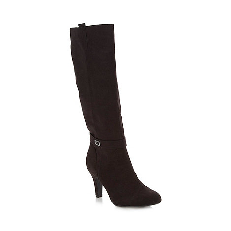 The Collection - Black suedette high boots