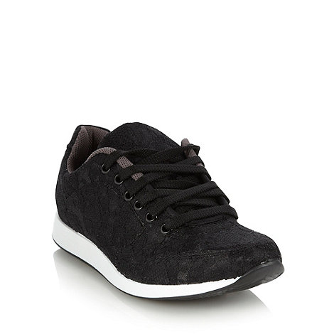 Red Herring - Black lace covered trainers