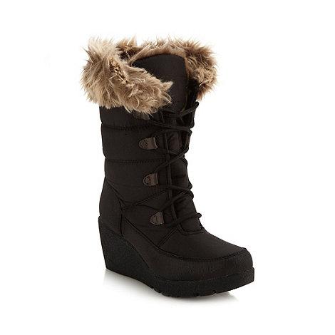 Mantaray - Black faux fur trim wedge snow boots
