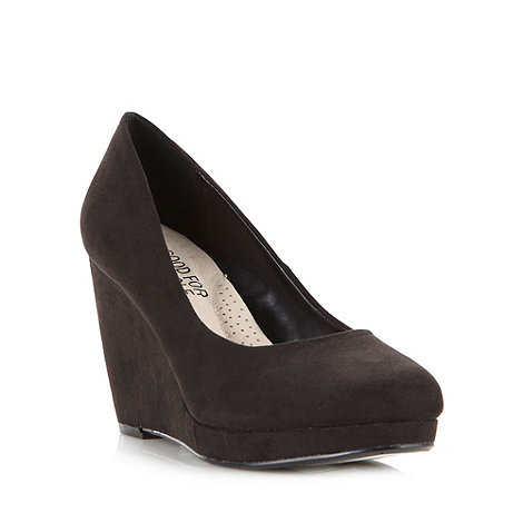 Good for the Sole - Black wide fit wedge high shoes