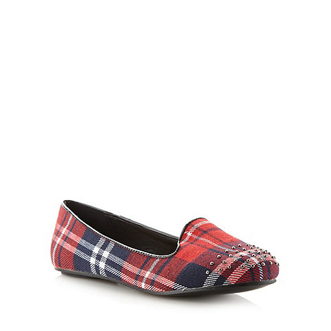 Red Herring - Red studded tartan pumps