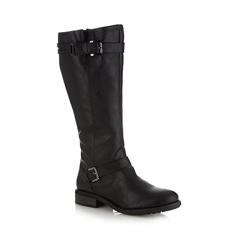 Mantaray - Black buckle trim high leg boots