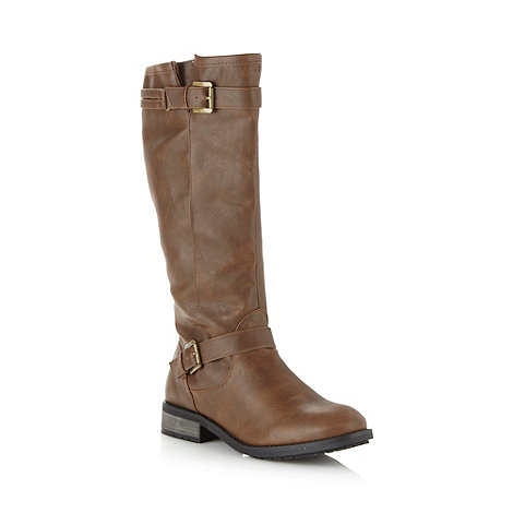 Mantaray - Brown knee length buckle low boots