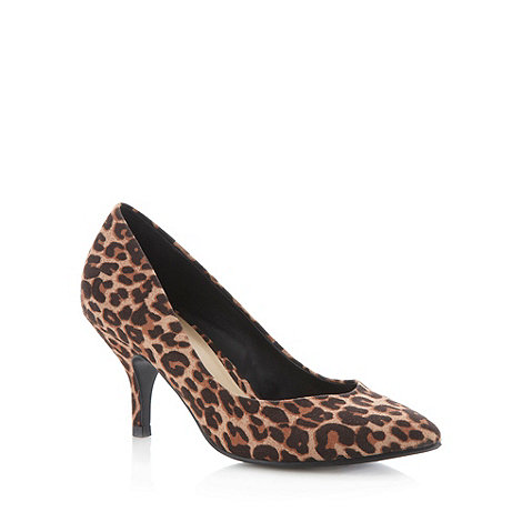 The Collection - Tan animal pointed toe high court shoes