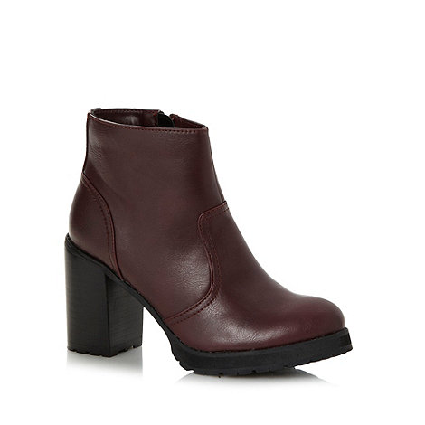Red Herring - Dark red high block heeled ankle boots
