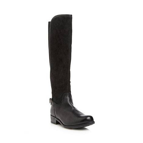 Mantaray - Black leather stretch back high leg boots