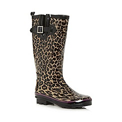 Red Herring - Black leopard print rubber wellies