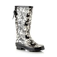 Black heart pattern rubber wellies
