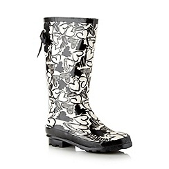 Red Herring - Black heart pattern rubber wellies