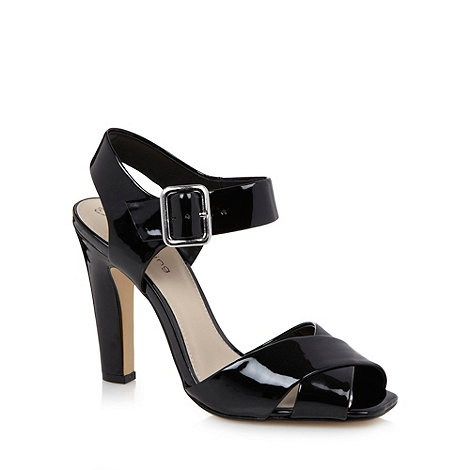 Red Herring - Black patent cross over high sandals