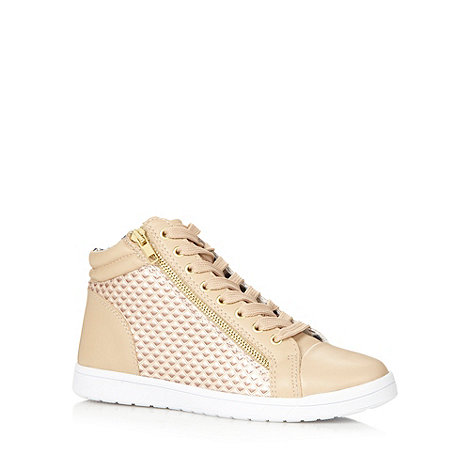 Red Herring - Natural embossed quilted high top trainers