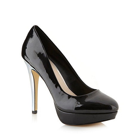 Red Herring - Black patent metallic high heel court shoes