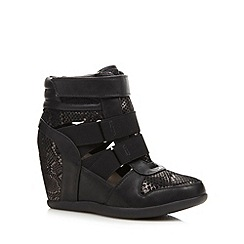Red Herring - Black sequin cut out wedge trainers